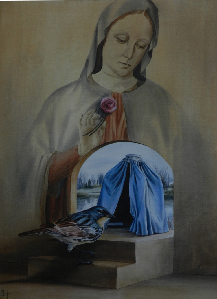 Madonna with Sparrow SOLD acrylic on panel