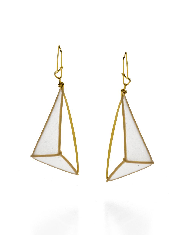 90 Degree Reflection Earrings  handmade paper, gold