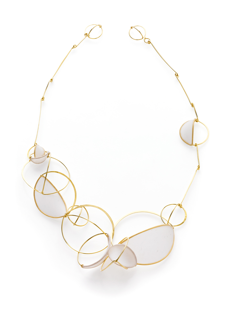 Exquisite Swell Series Necklace  handmade paper, 14k gold