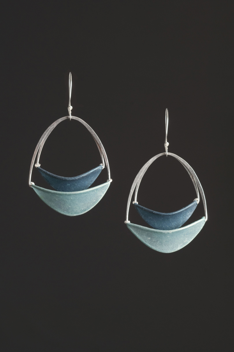 Stacked Oval Earrings $162 sterling silver, handmade paper