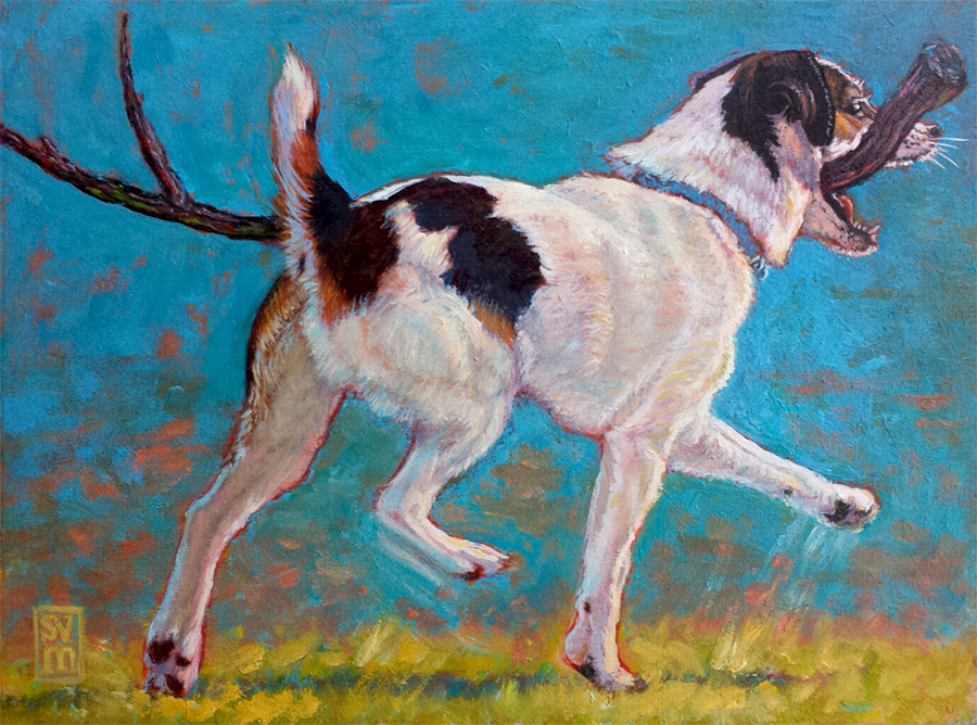 Dexter and the Really Big Stick 1 oil on panel 11 X 13 $500