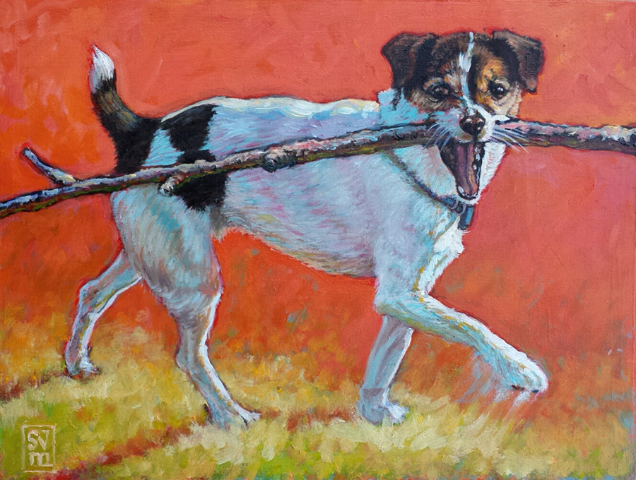 Dexter and the Really Big Stick 2 SOLD oil on panel 11 X 13