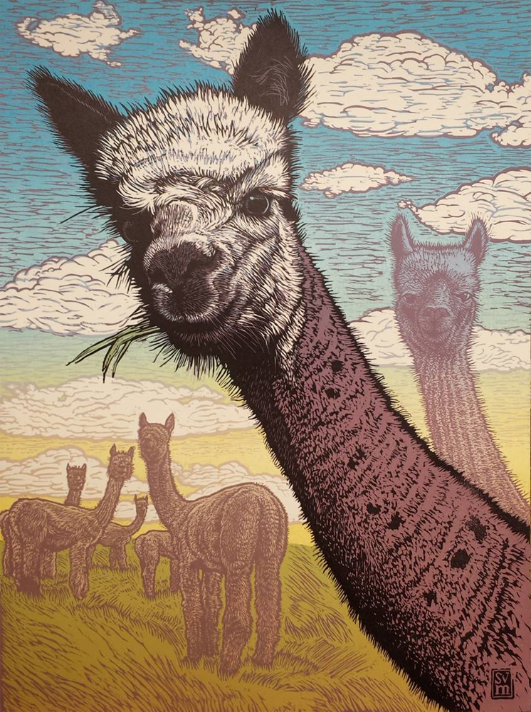 Alpaca Sky $700 reduction linocut 32 x 26