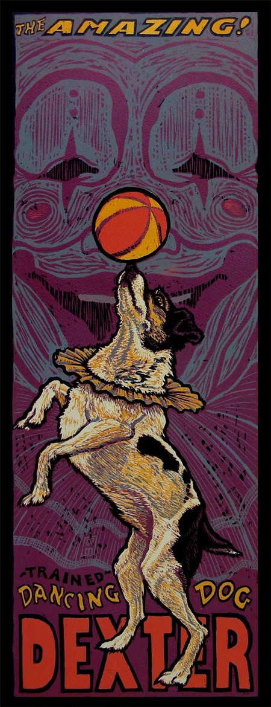The Amazing Dancing Dog  reduction woodcut 27 x 13| $550