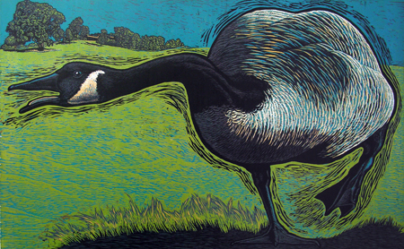 Taliesen Goose SOLD EDITION reduction woodcut 34 x 52