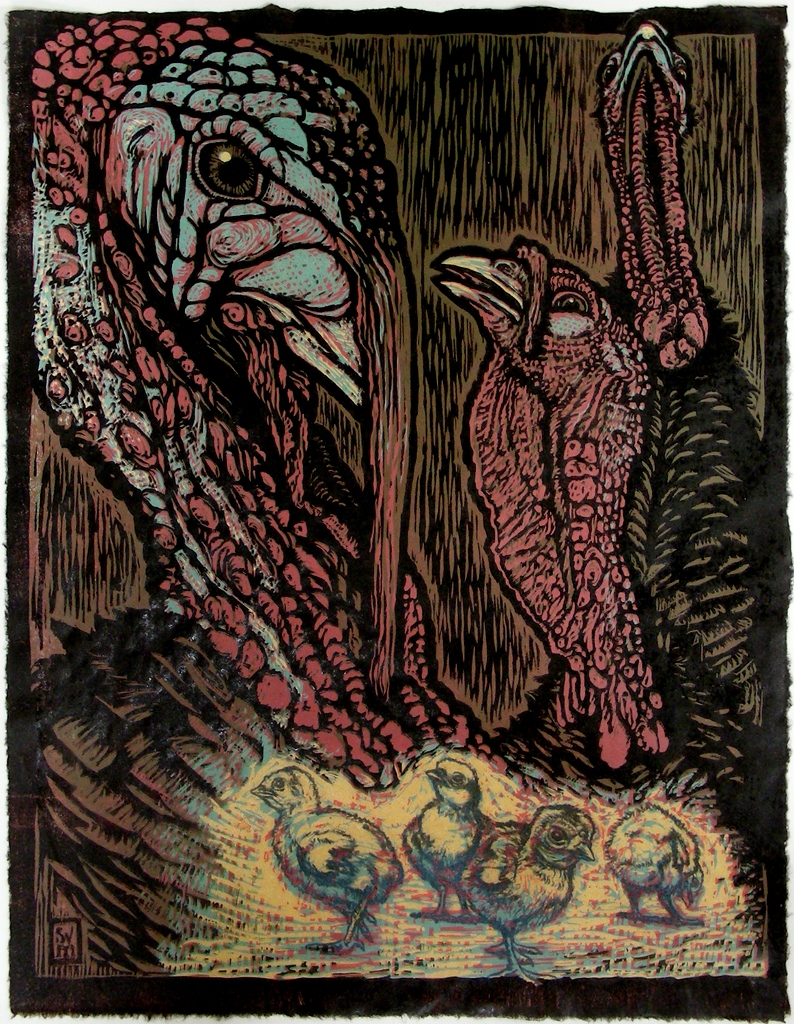 Little Poults Grow Big (Monster Toms) hand colored relief print $400