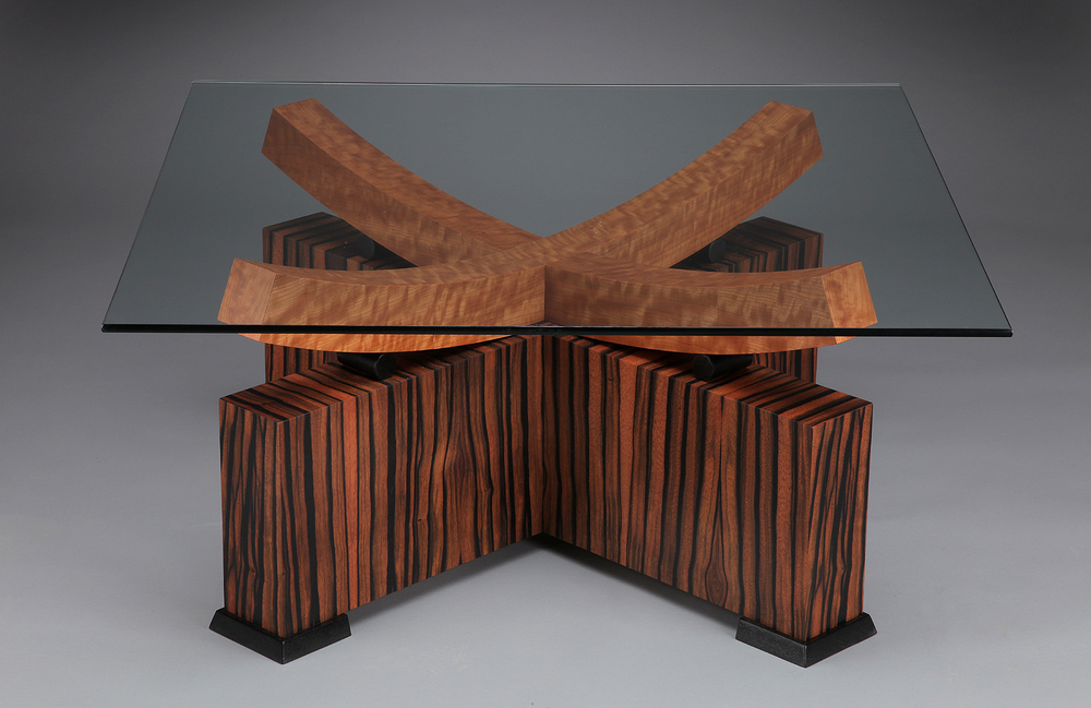 Double Arc Macassar SOLD*  macassar ebony, mottled makore, black laquered mahogany 36 x 36 x 17.5