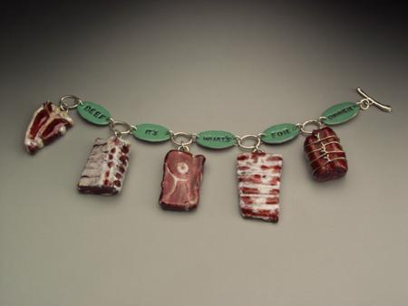 Meat Charm Bracelet  enamel