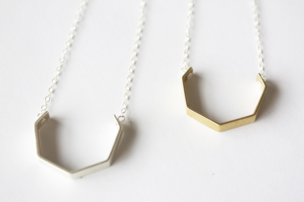 Peaked Open Necklace  silver, silver or brass