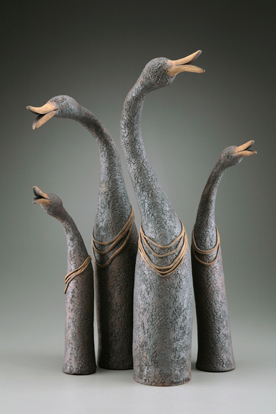 Long Necked Geese  ceramic