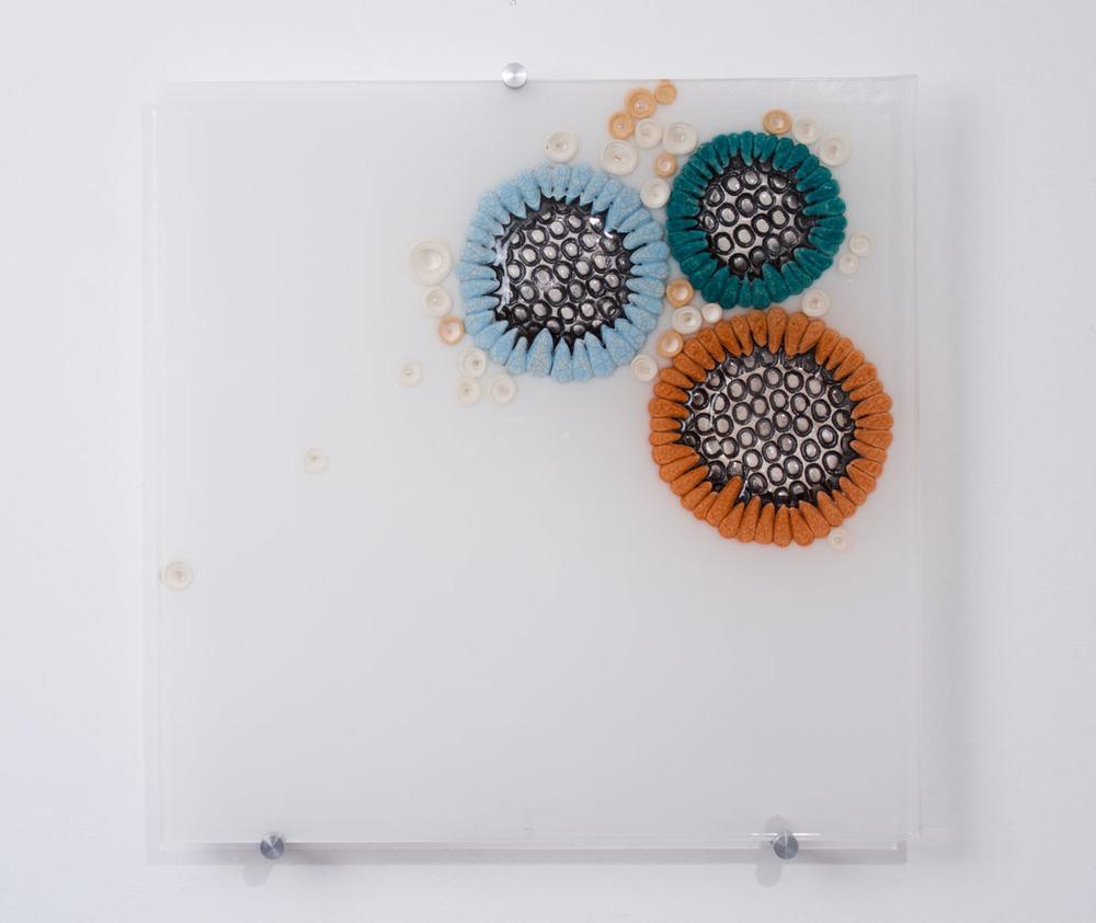 Hub Bub 3 SOLD  ceramics, acrylic 15 x 15 x 2