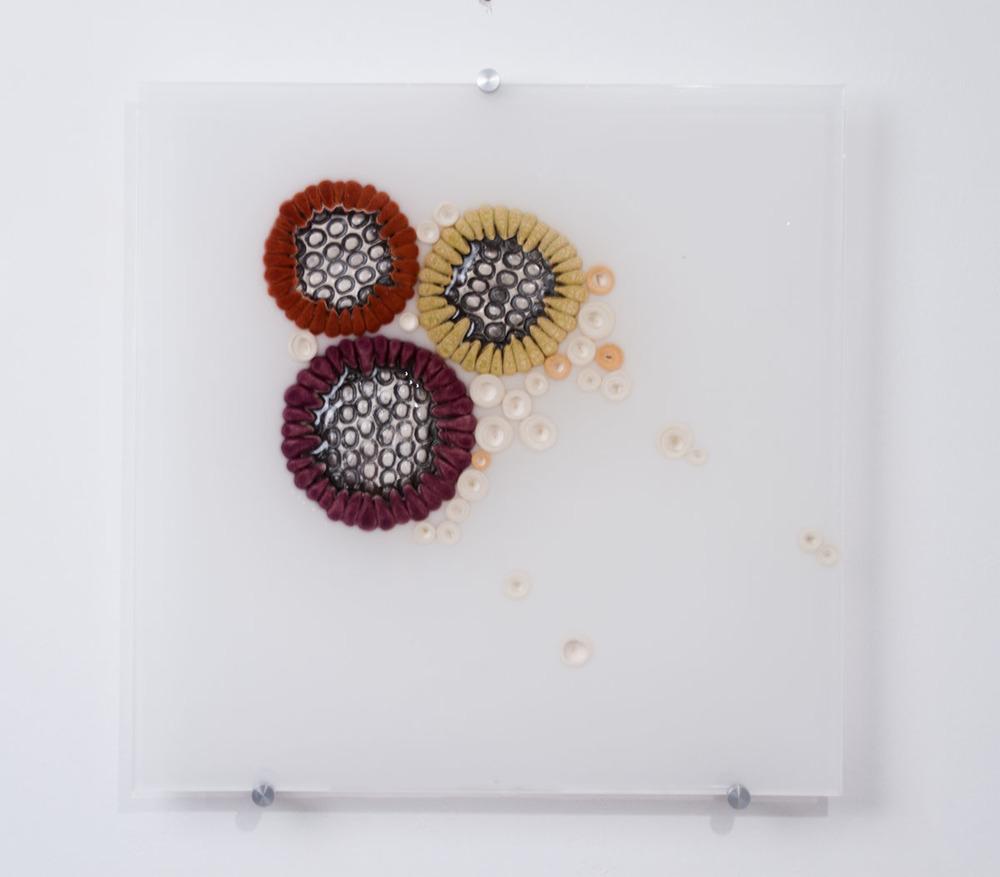 Hub Bub 1 SOLD  ceramics, acrylic 15 x 15 x 2