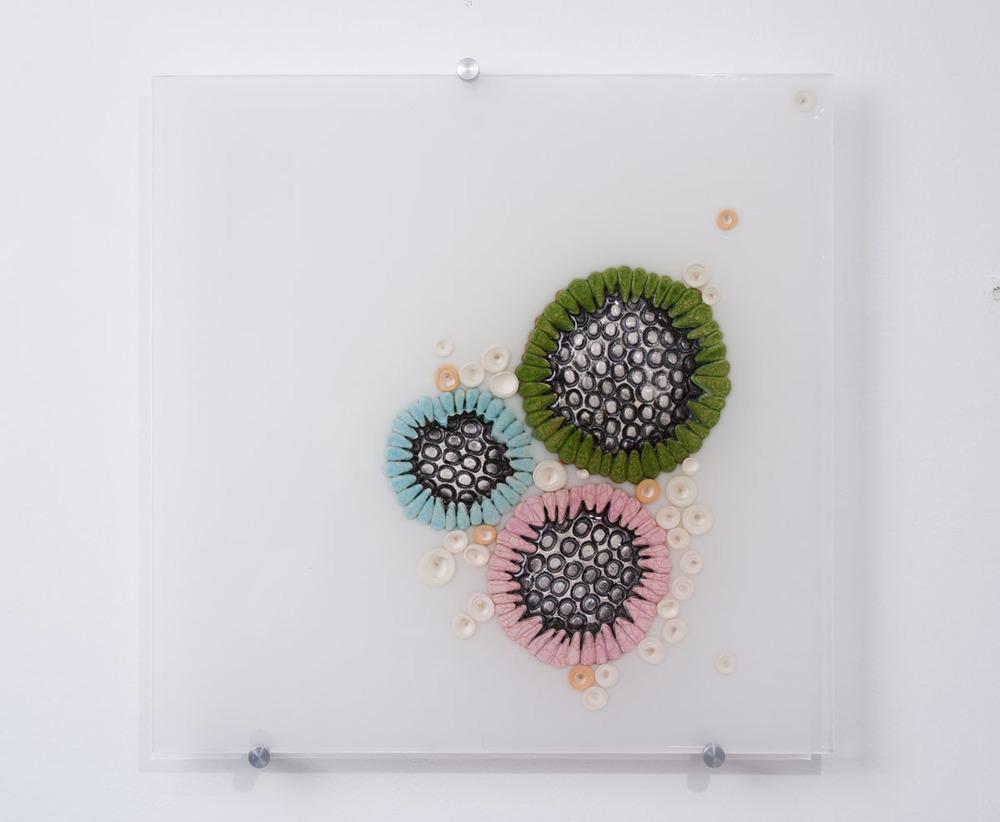 Hub Bub 2 SOLD  ceramics, acrylic 15 x 15 x 2