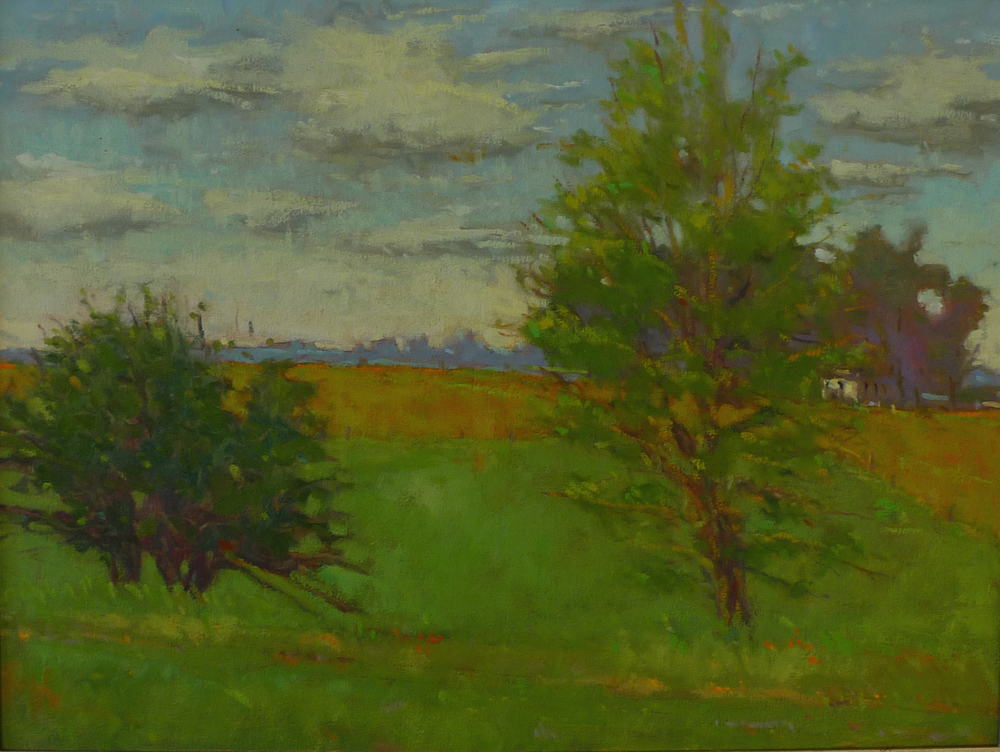 View From Hague Log Church SOLD oil on canvas 21 x 26.5