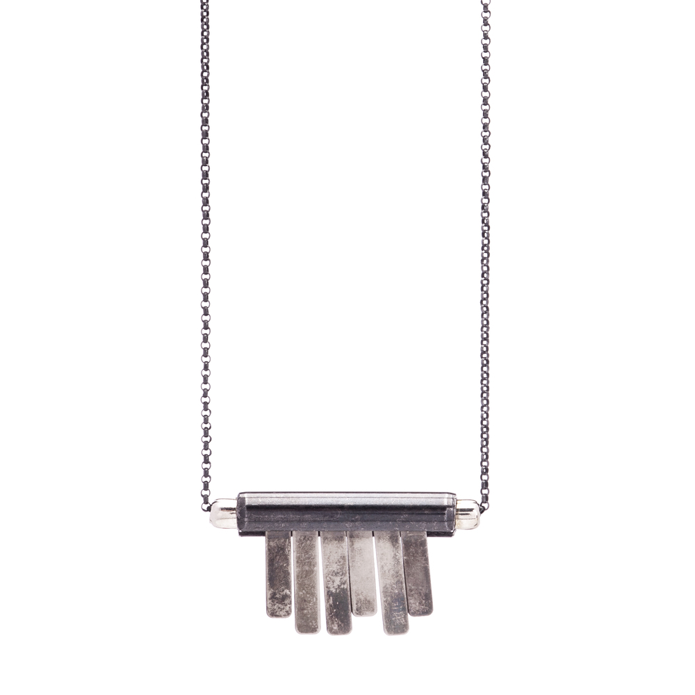 Small Toothy Lat Necklace $135  vintage silver, steel, sterling silver