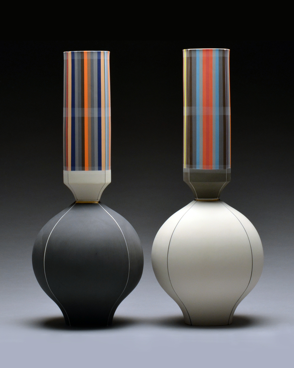 Left Vase SOLD Right Vase SOLD  porcelain 19 x 8 x 8