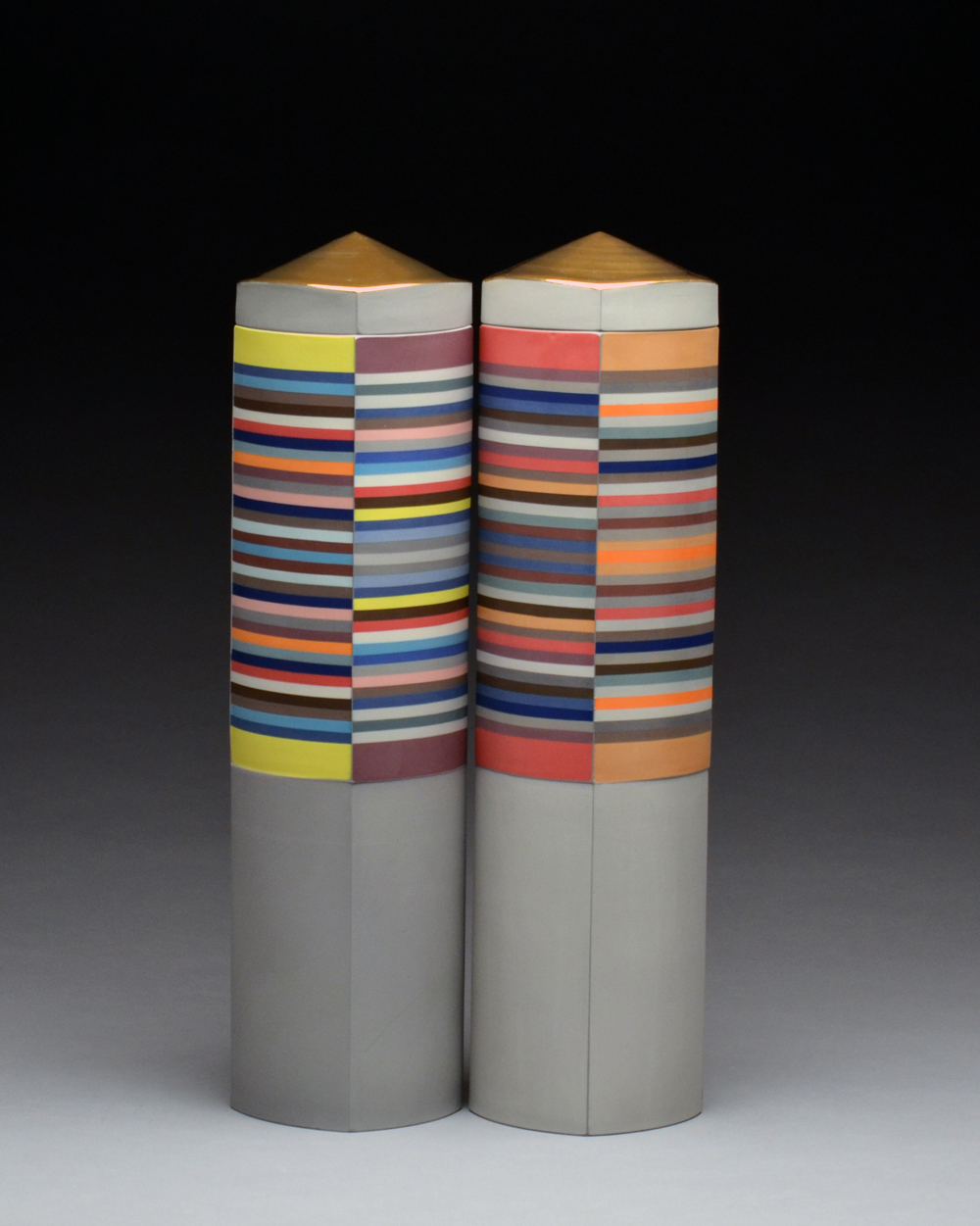 Columns pictured left $3,000,  pictured right SOLD   porcelain 17.5 x 4.5 x 4.5
