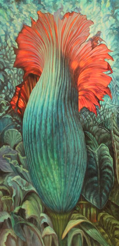 Blue Corpse Flower $4,200  oil on panel 48 x 24