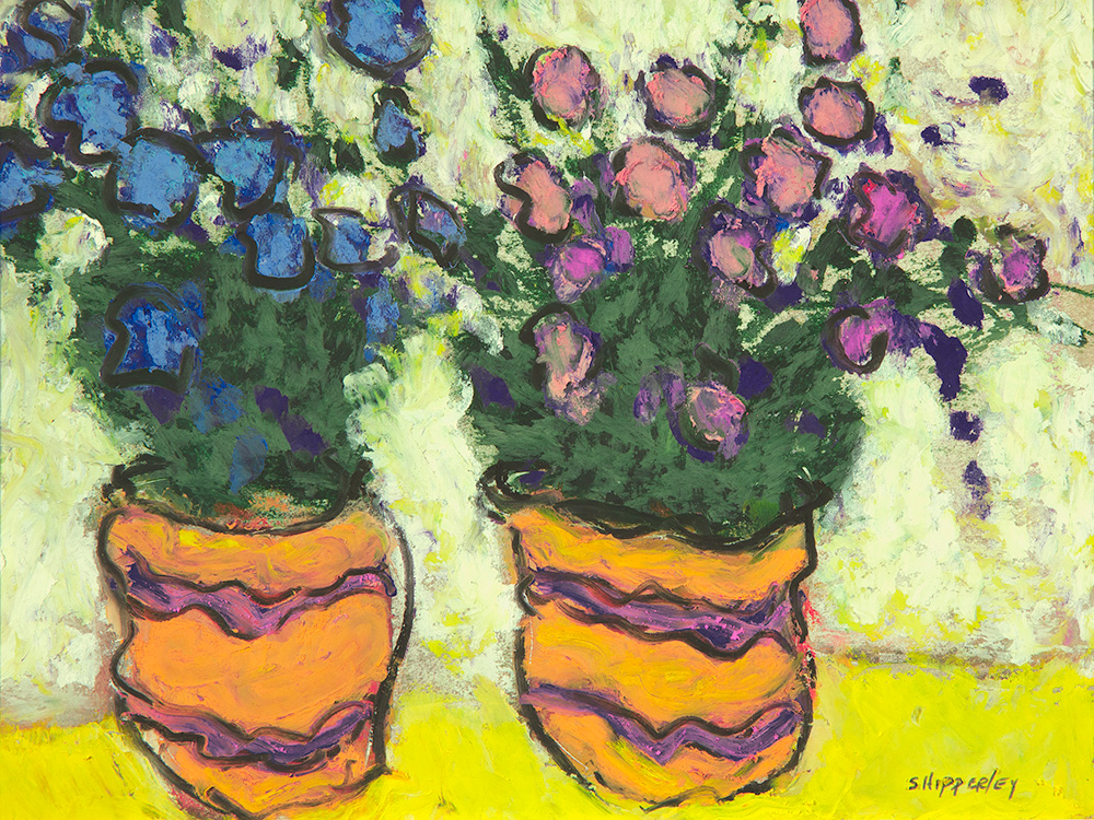 Two Pots SOLD oil pastel 13 x 15