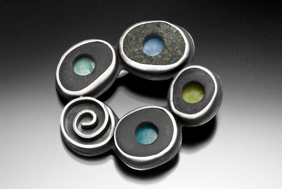 Brooch  sterling silver, lake stone, enamel
