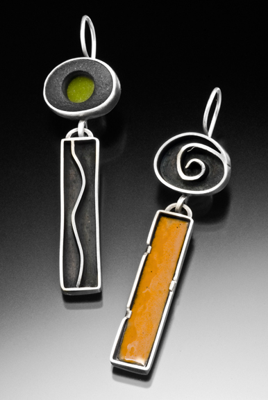 Earrings  sterling silver, lake stone, enamel