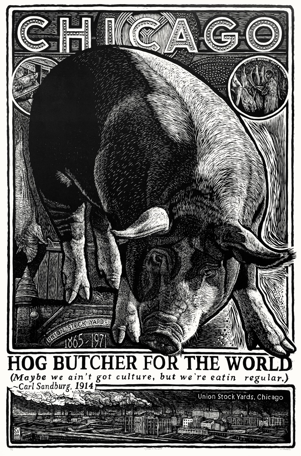 Hog Butcher for the World $2,000 woodblock print 64 x 44