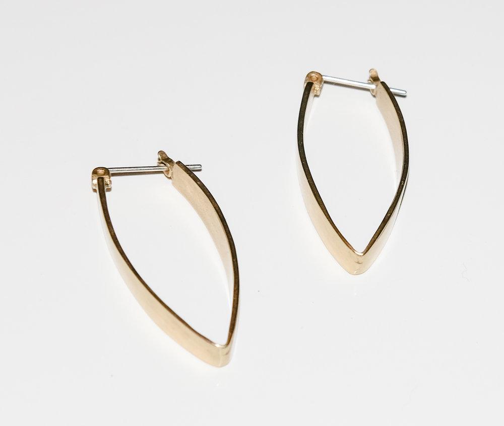 Folded Earrings  gold over silver