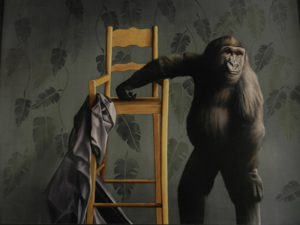 Young Gorilla with Yellow Chair