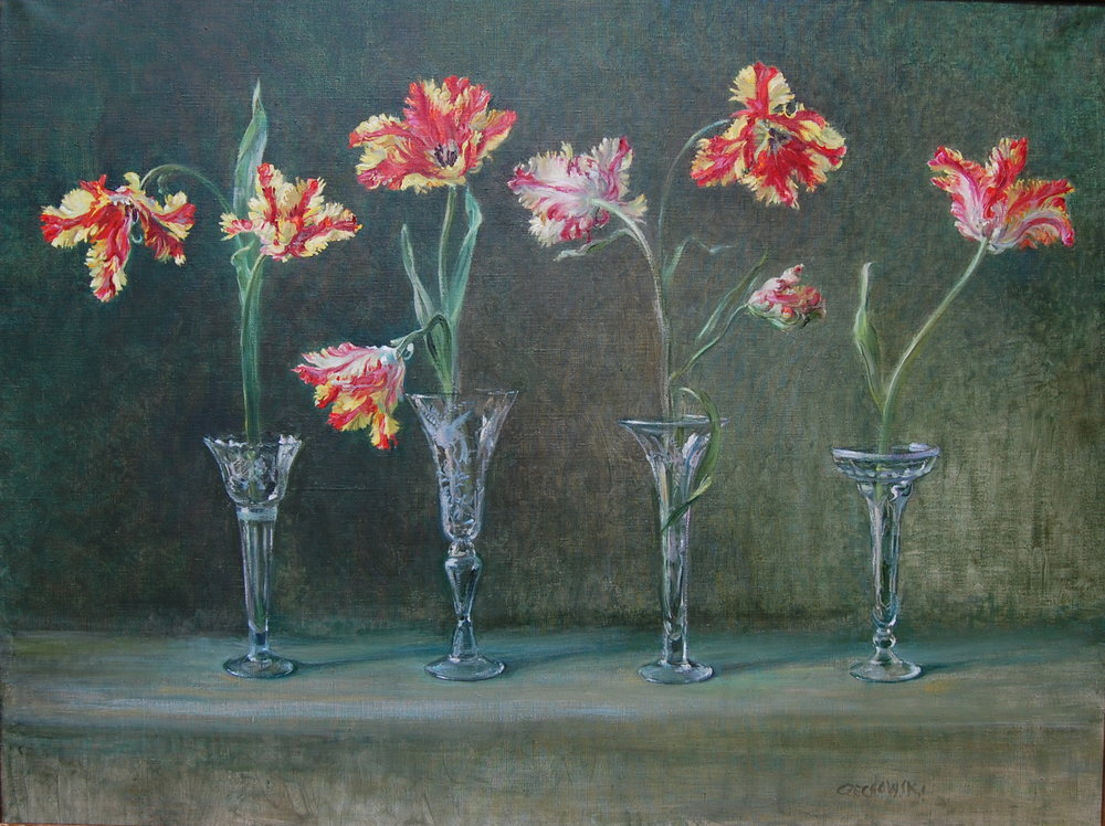 Parrot Tulips in Crystal Flutes