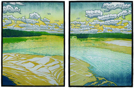 Sand In Accordance to Water (Diptych) color reduction woodcut $3400 framed (set)