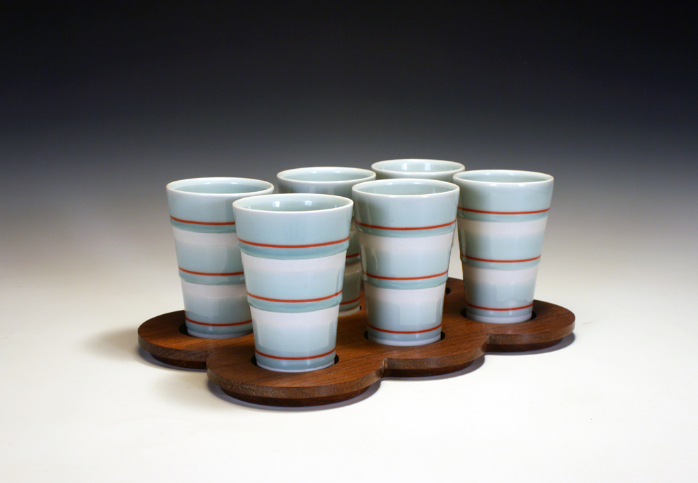 Cups with Wooden Tray