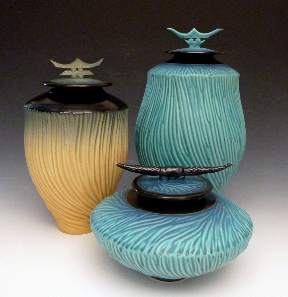 Carved Jars ceramic