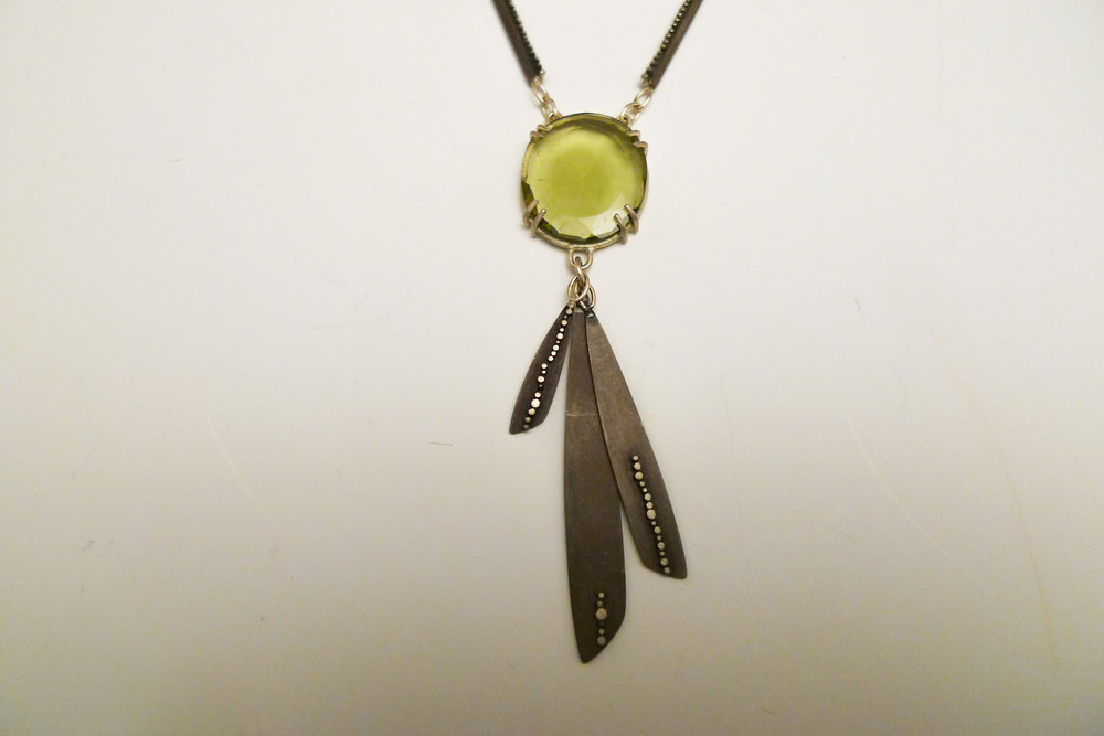Necklace sterling silver, green tourmaline