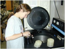Student loading samples in centrifuge.