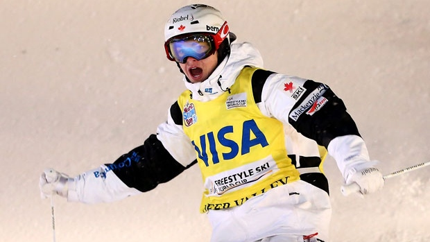 Mikael Kingsbury won a World Cup moguls event for the second day in a row, taking the dual moguls race. Justine Dufour-Lapointe of Canada captured the ladies' event. (Streeter Lecka/Getty Images)