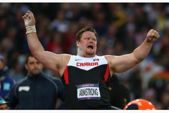 STEVE RUSSELL / TORONTO STAR Dylan Armstrong, here at the 2012 Olympics in London, will finally receive the Olympic bronze medal he was cheated out of at the 2008 Games in Beijing. The Canadian shot putter will get the medal in a ceremony Sunday in Kamloops.
