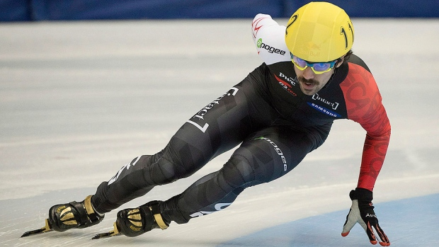 Canada's Charles Hamelin captured his six individual medal of the season and eighth overall with a bronze medal performance in Sunday's men's 500-metre face at a speed skating World Cup event in Erzurum, Turkey. The skater from Sainte-Julie, Que., stopped the clock in 44.179 seconds. (Graham Hughes/Canadian Press/File)