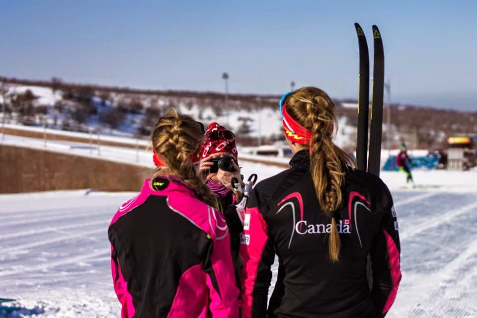 Annah Hanthorn(left) and I doing a pre-race interview for CCC. Photo: Raphael Couturier