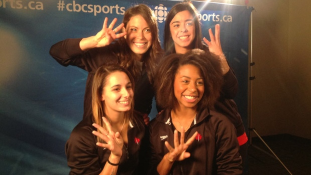 Canada's Diving Fab IV includes top left, Roseline Filion, top right, Meaghan Benfeito, bottom left, Pamela Ware and bottom right, Jennifer Abel, bound for stardom at the 2015 Pan Am Games and beyond. (Scott Russell/CBC Sports)