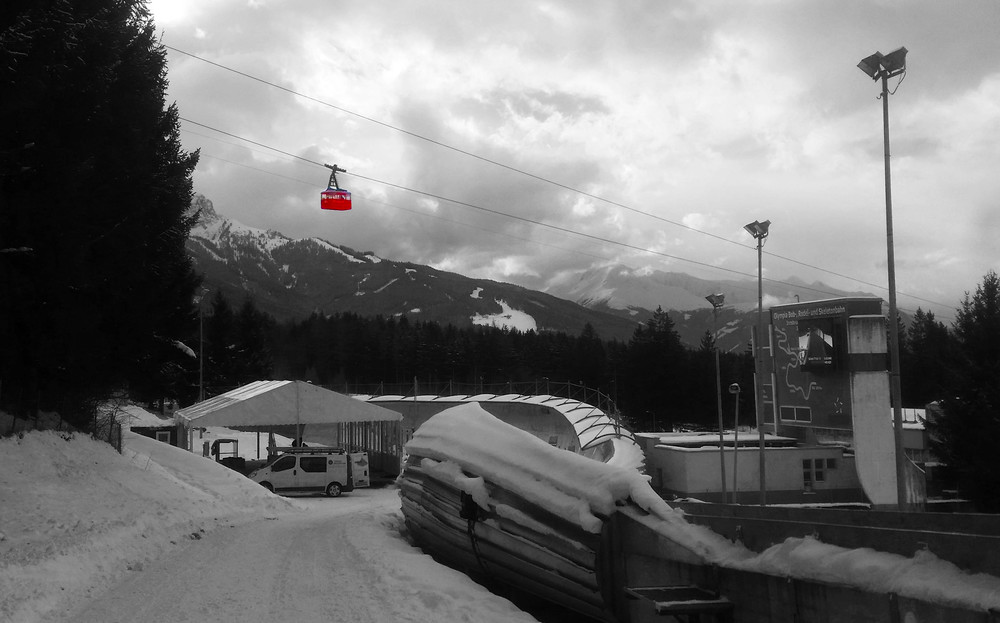 Cable car gliding over the track