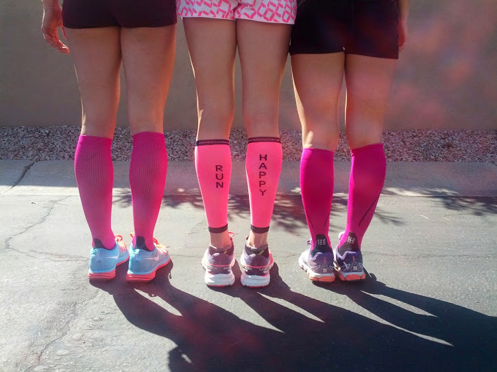 "My teammates and I sporting our pink ""Sally socks"" on our run in AZ this morning"