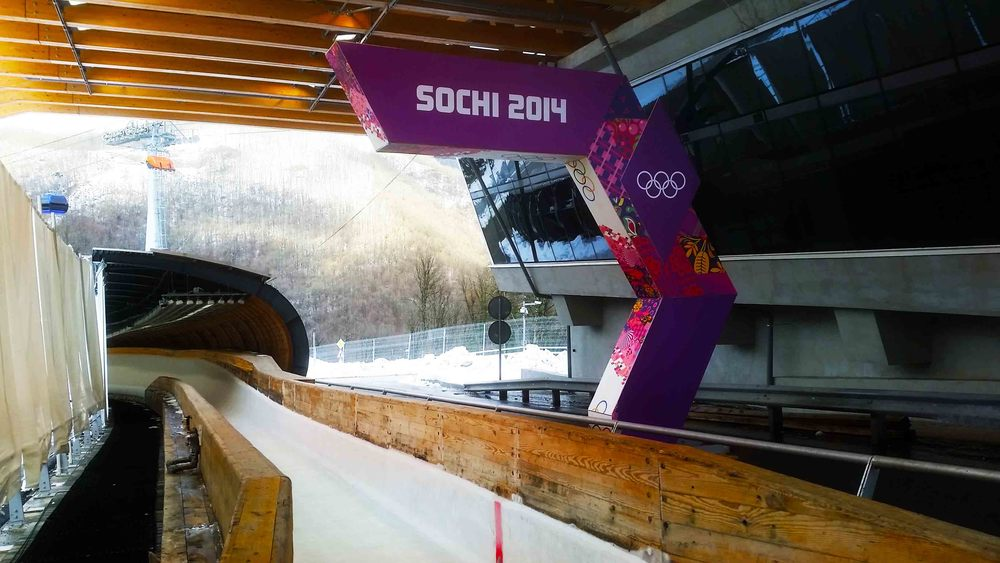 Sochi 2014 signage at the finish line of the skeleton track.