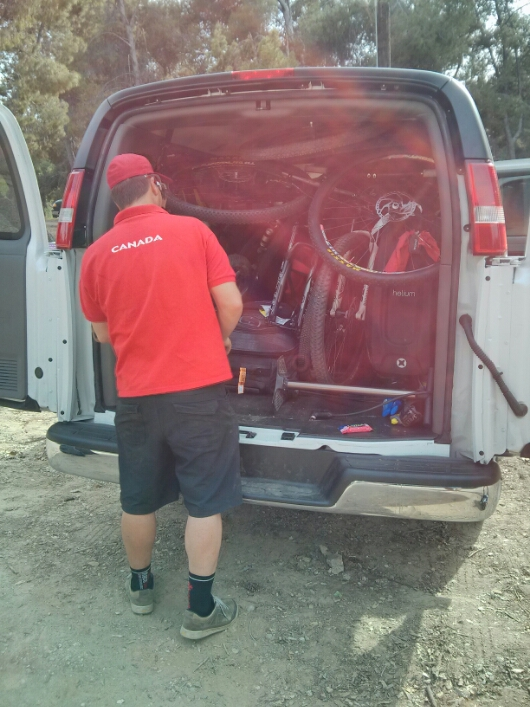 Loading up the Team Canada van
