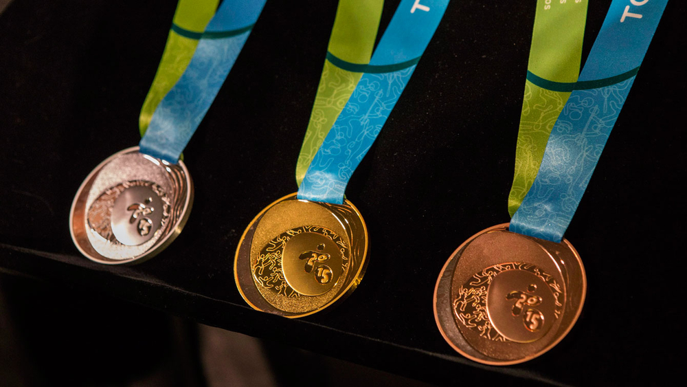 Toronto 2015 Pan American Games medals on display on March 3, 2015 during their unveiling.