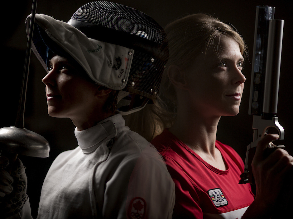 Donna Vakalis, who competes in pentathlon, a sport that combines fencing, equestrian, swimming, running and shooting, is seen here.                                                                                             Tim Fraser for National Post