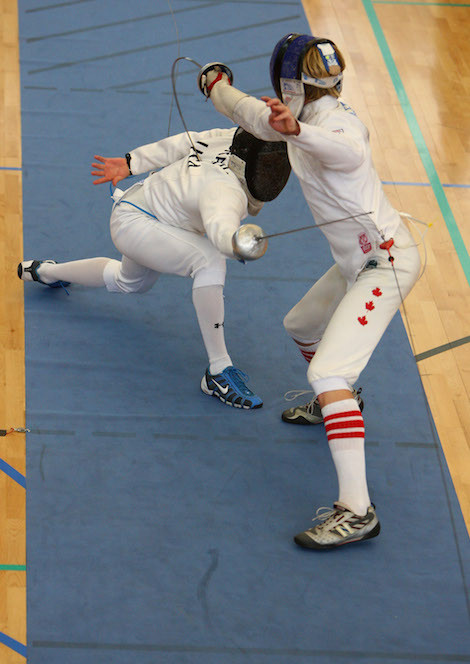 William Brady of USA competes against Joshua Riker Fox of Canada during the Men's semi-final fencing event during the 2009 Modern Pentathlon World Championships at Crystal Palace National Stadium on August 13, 2009 in London, England.                                           Jamie McDonald/Getty Image