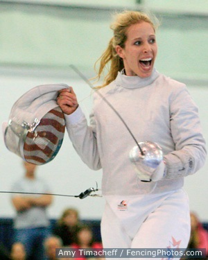 Mariel Zagunis celebrates winning the Korfanty World Cup on May 3, 2014 in Chicago.