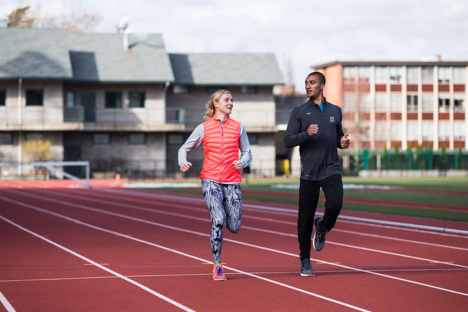 Ashton Eaton and Brianne Theisen-Eaton are at the top of their game. Aston Eaton won 2012 Olympic gold in the decathlon. Theisen-Eaton is the 2014 Commonwealth Games champion. These photos follow them as they train for world championships and ultimately the Olympics at the University of Oregon. Ashton Eaton and Brianne Theisen-Eaton warm-up on the track before heading indoors for technical training. Thomas Boyd/Staff