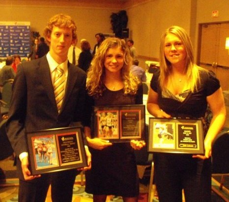 With Jessica Parry and Julie Labonte after winning the Fred Begley award back in 2008.