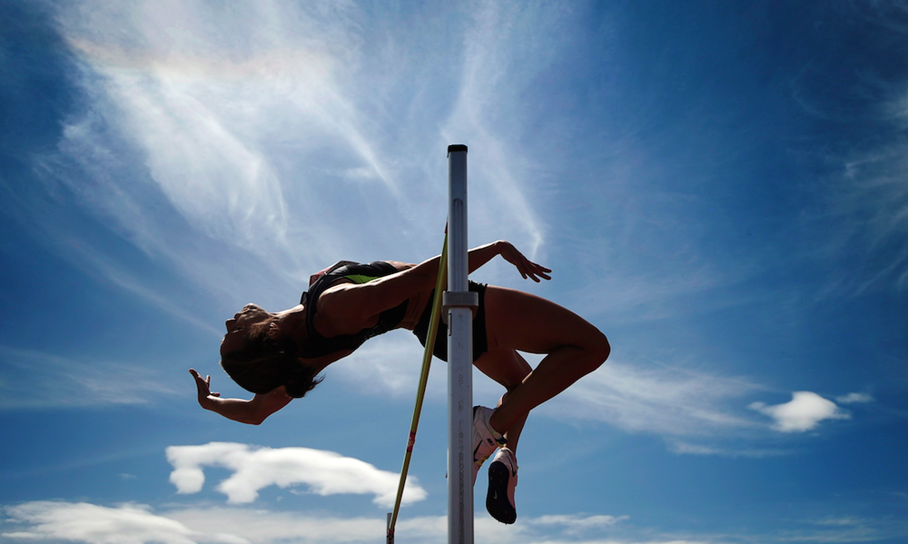 Jessica Zelinka of London, Ont., competes in the high jump during the heptathlon event at the Canadian Track and Field Championships in Calgary on Wednesday, June 27, 2012. THE CANADIAN PRESS/Sean Kilpatrick